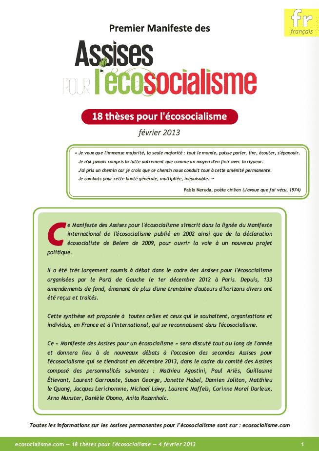 manifeste ecosocialisme