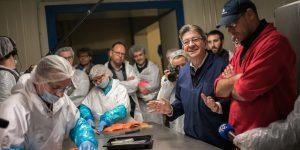 Visite d'une entreprise de salaison par Jean-Luc Melenchon