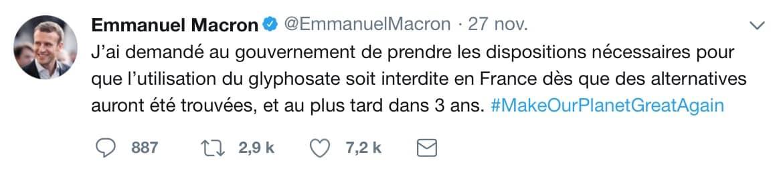 tweet macron glyphosate