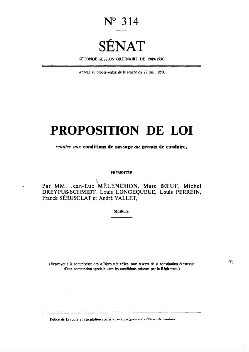 proposition loi melenchon permis conduire