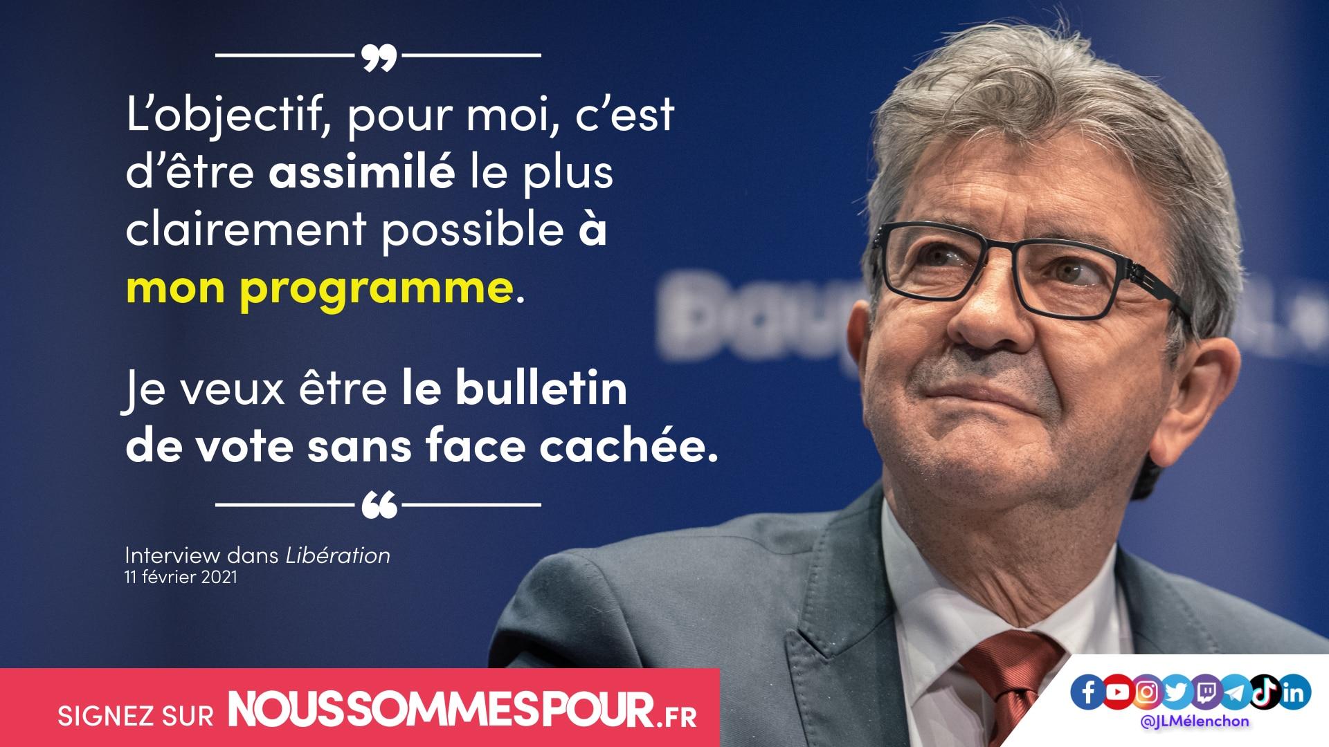 «Je veux être le bulletin de vote sans face cachée» - Interview dans «Libération»